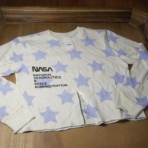 NWT NASA Stars Long Sleeve Crop Tee Size M